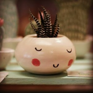 tiny cactus in supercute pot from Pop-Up Raleigh Vintage Market